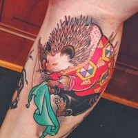 Illustrative style colored leg tattoo of fantasy hedgehog