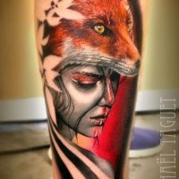 Illustrative style colored leg tattoo of woman with fox helmet