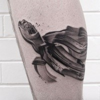 Illustrative style colored leg tattoo of swimming turtle