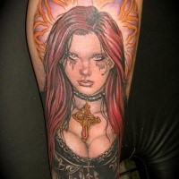 Illustrative style colored leg tattoo of seductive woman with cross