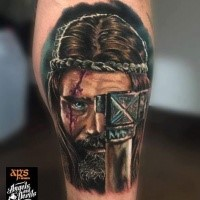 Illustrative style colored leg tattoo of medieval warrior with axe