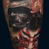Illustrative style colored leg tattoo of evil samurai with helmet