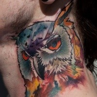 Illustrative style colored neck tattoo of owl