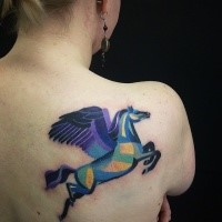 Illustrative style colored scapular tattoo of pegasus horse