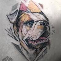 Illustrative style colored scapular tattoo of beautiful dog