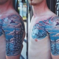 Illustrative style colored shoulder and chest tattoo of snowboarder with forest