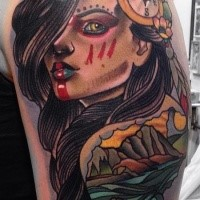 Illustrative style colored shoulder tattoo of Indian woman with compass