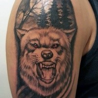 Illustrative style colored shoulder tattoo of wolf in dark forest with moon
