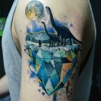 Illustrative style colored shoulder tattoo of dinosaurs and big moon