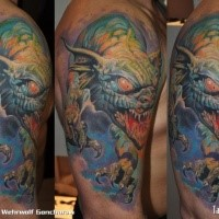 Illustrative style colored shoulder tattoo of fantasy monster dragon