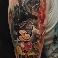 Illustrative style colored shoulder tattoo of Darth Vader with lettering and Mickey Mouse