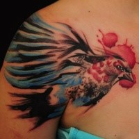 Illustrative style colored shoulder tattoo of small beautiful bird