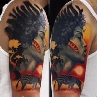 Illustrativstil farbiger Schulter Tattoo der Stammesfrau mit Zebra