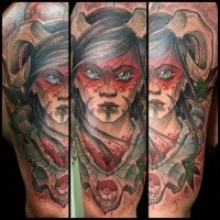 Illustrative style colored shoulder tattoo of devil woman