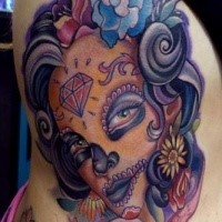 Illustrative style colored side tattoo of Mexican traditional woman portrait