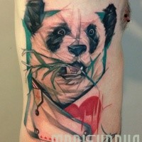 Illustrative style colored side tattoo of panda bear with bamboo