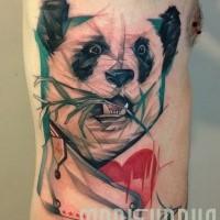 Illustrativer Stil farbiges Seite Tattoo von Pandabären mit Bambus