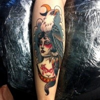 Illustrative style colored tattoo of creepy woman with eagle and moon