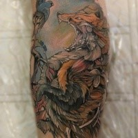 Illustrative style colored tattoo of evil fox with birds