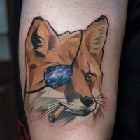 Illustrative style colored tattoo of smoking fox pirate