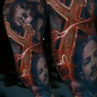 Illustrative style colored tattoo of stone statue with cross