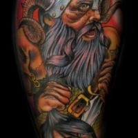 Illustrative style colored tattoo of viking warrior