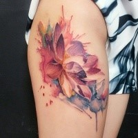 Illustrative style colored thigh tattoo of beautiful lotus flowers
