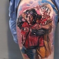 Illustrative style colored thigh tattoo of famous movie heroes