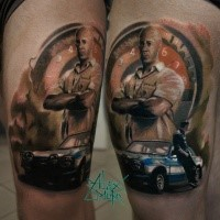 Illustrative style colored thigh tattoo of bold man with classic car