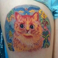Illustrative style colored thigh tattoo of cat with feather