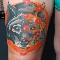Illustrative style colored thigh tattoo of big dog head