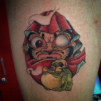 Illustrative style colored thigh tattoo of daruma doll with frog