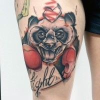Illustrative style colored thigh tattoo of panda boxer with lettering