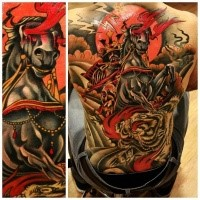 Illustrative style colored whole back tattoo of demonic samurai warrior with tiger
