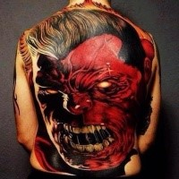 Illustrative style colored whole back tattoo of evil red Hulk
