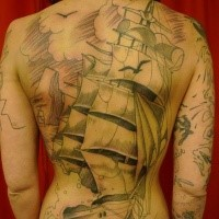 Illustrative style colored whole back tattoo of big sailing ship