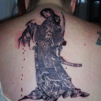 Illustrative style colored whole back tattoo of samurai woman with human head