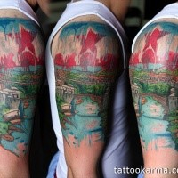 Illustrative style colorful shoulder tattoo of medieval city with red star