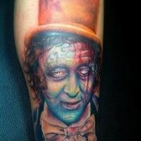 Illustrative style creepy looking leg tattoo of zombie clown in hat