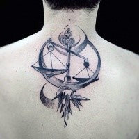 Illustrative style detailed upper back tattoo of libra with original ornament