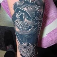 impressionante 3D Asiatico scheletro samurai con bellissima spada  tatuaggio su braccio