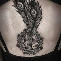 impressionante nero e bianco mistico piume di pavone  con diamante tatuaggio su schiena