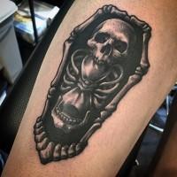 Impressive black and white skeleton with bone shaped coffin tattoo on leg