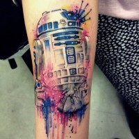Impressive multicolored awesome watercolor forearm tattoo of Star Wars droid