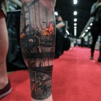 Impressive natural looking monster zombie tattoo ob leg