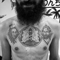 Impressive painted black and white nautical portrait with lighthouse tattoo on chest