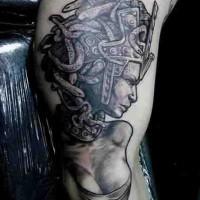 Tatuaje negro blanco de Medusa  Gorgona   atractiva