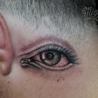 impressionante semplice grande occhio inchiostro nero tatuaggio dietro orecchio