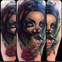 Incredible beautiful designed colored bloody vampire woman with human heart tattoo