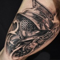 Incredible black and white biceps tattoo of gladiator